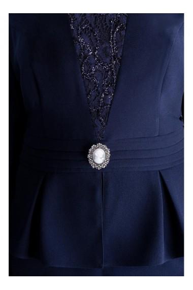 Rochie cu peplum si camee in talie - Isaura 81329 Bleumarin
