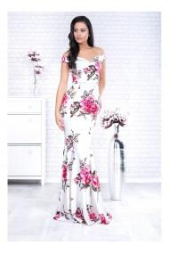 Rochie tip sirena cu imprimeu floral Ludmila 91421alb
