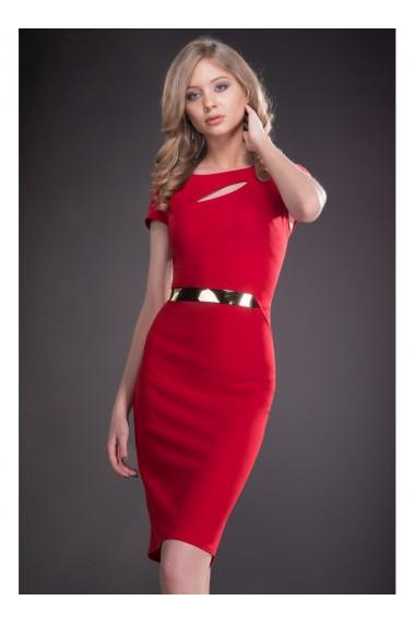 Rochie rosie cu decupaj si curea in talie Ecaterina 81182R