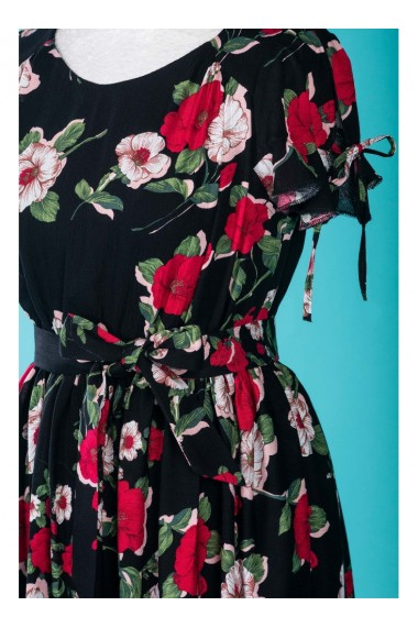 Rochie neagra cu imprimeu floral Marusia 81190ngr
