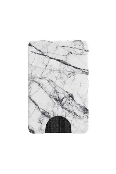PopWallet White Marble portofel de telefon PopSockets Alb