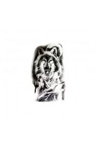 Tatuaj temporar Angry Wolves Culoare Negru 14.8x21CM pentru piele