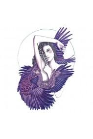 Tatuaj temporar Eagle Girl Culoare Violet 14.8x10cm pentru piele