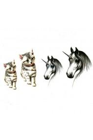 Tatuaj temporar Unicorn Cat Culoare Negru 6x10.5cm pentru piele