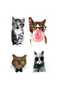Tatuaj temporar Funny Kitties Culoare Negru 6x10.5cm pentru piele