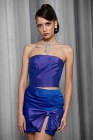 Fusta mini Buffet Dressing din tafta Duchesse Albastra