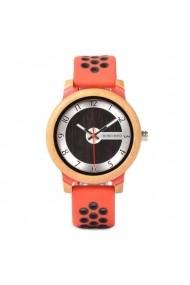 Ceas din bambus Bobo Bird cu curea din silicon rosu R11-1