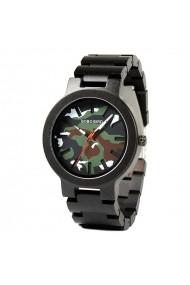 Ceas din lemn Bobo Bird negru cu curea din lemn R16