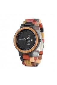 Ceas din lemn Bobo Bird multicolor cu curea din lemn P14-1