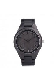 Ceas din lemn Bobo Bird negru cu curea din lemn H05