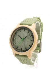 Ceas din bambus Bobo Bird cu curea din silicon verde B06