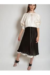 Rochie detasabila Marami Silk Muslin Skirt Alb si Negru