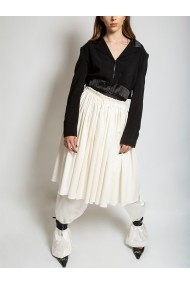 Fusta din vascoza Marami Hand Crafted Gathered Skirt Alba