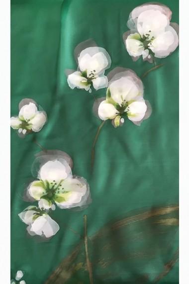 Esarfa UNICAT Decoresilk din matase naturala pictata manual 31 Verde