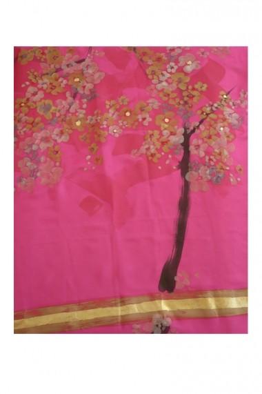 Esarfa UNICAT Decoresilk din matase naturala pictata manual 28 Roz