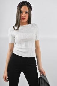 Bluza tricotata cu maneca scurta ELES & CO MCW001 Alba