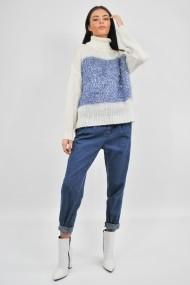 Pulover tricotat cu guler alb ELES & CO MDWS002 cu detalii albastre