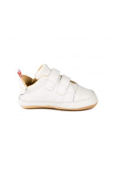 Pantofi Unisex Bibi Afeto Joy Albi cu Velcro
