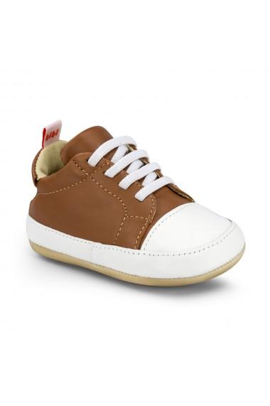 Pantofi Baietei Bibi Afeto Joy Caramel/Alb cu Siret Elastic