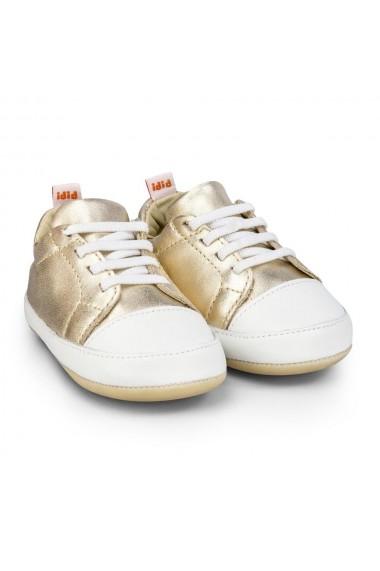Pantofi fetite Bibi Afeto Joy Gold cu Siret Elastic