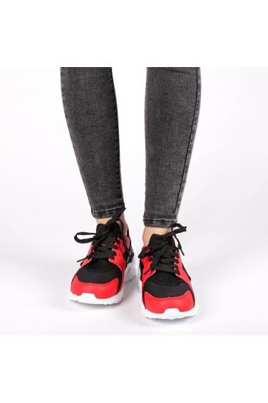 Pantofi sport dama Winifred negru cu rosu