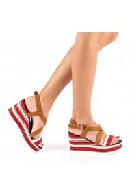 Sandale dama cu platforma Adras rosii
