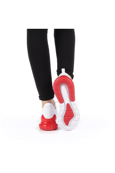 Pantofi sport dama Liova albi cu rosu
