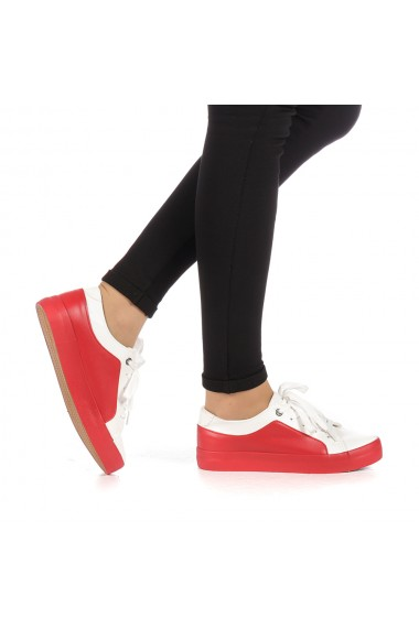 Pantofi sport dama Olanis albi cu rosu