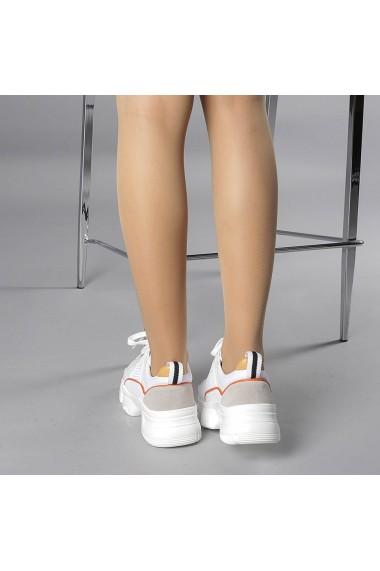 Pantofi sport dama Rane alb cu rosu