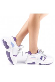 Pantofi sport dama Nastasia alb cu mov