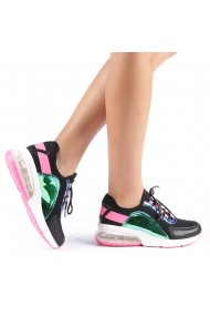 Pantofi sport dama Zinnia negru cu fuchsia