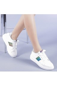 Pantofi sport dama Jimena alb cu argintiu