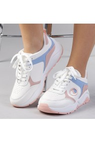 Pantofi sport dama Ariadna alb cu roz