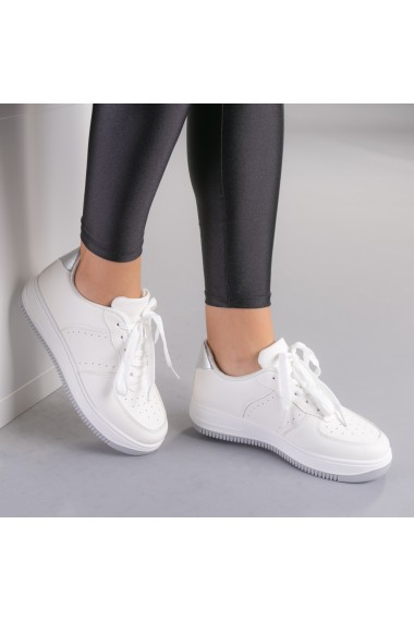 Pantofi sport dama Softa alb cu argintiu