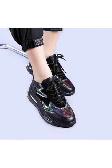 Pantofi sport dama Sorina negri cu argintiu