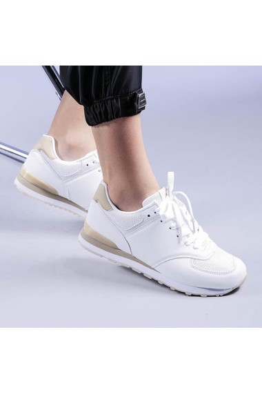 Pantofi sport dama Opal albi cu bej