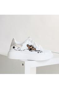 Pantofi sport dama Amour alb cu argintiu