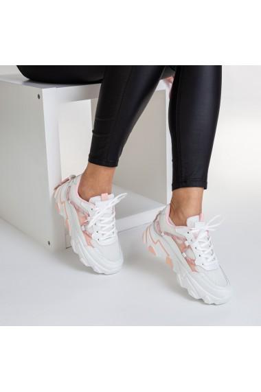 Pantofi sport dama Dazia alb cu roz