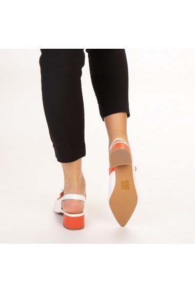 Pantofi dama Safar albi cu portocaliu