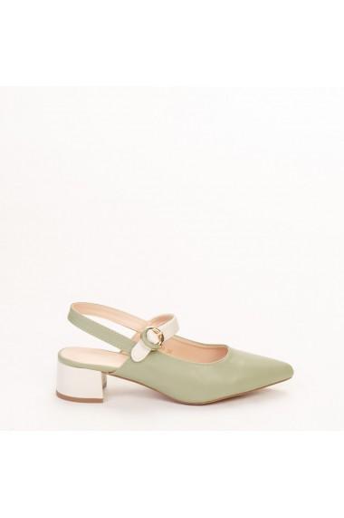 Pantofi dama Safar verzi cu alb