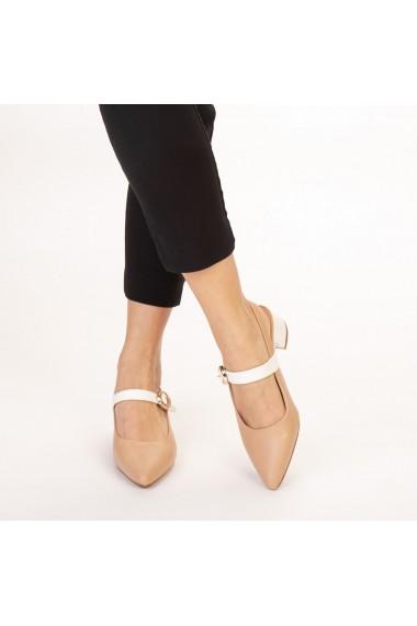 Pantofi dama Safar nude cu alb