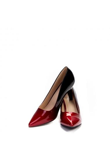 Pantofi dama Nusha negri cu rosu