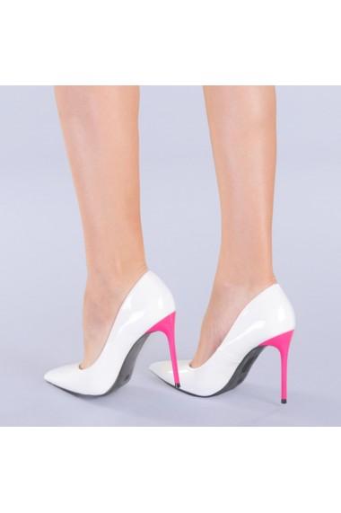 Pantofi dama Malia alb cu fuchsia