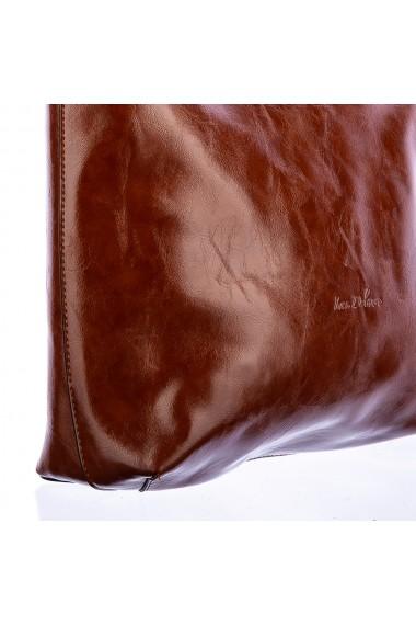 Geanta dama Ines Delaure Camel piele ecologica