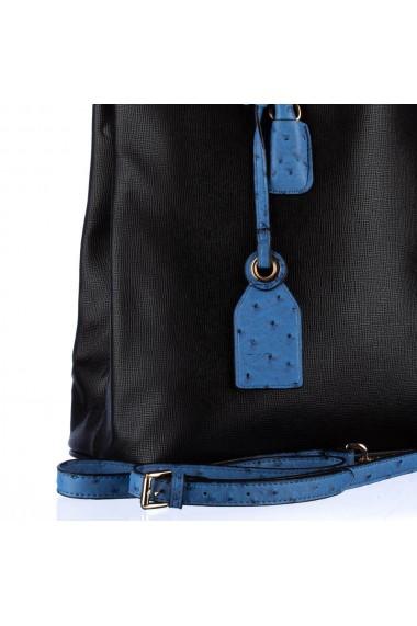 Geanta dama Carpisa Neagra cu albastru piele ecologica