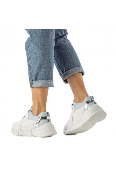 Pantofi sport dama Boony albi cu bleu
