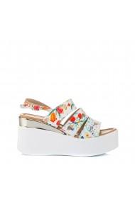 Sandale dama Simine albe cu flori