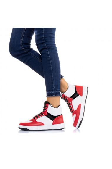 Pantofi sport dama Monisha alb cu rosu