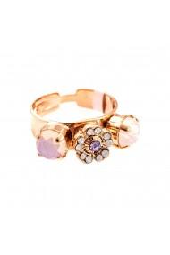 Inel placat cu Aur roz de 24K cu cristale Swarovski Purple Rain 7504/2-M83371RG