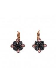 Cercei placati cu Aur roz de 24K cu cristale Swarovski Black Velvet 1164/1-1073RG6